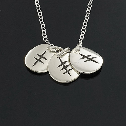 Ogham Initial Pendant - Sterling Silver 3 Disc