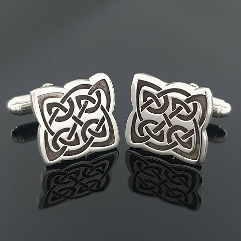 Celtic Knot Cufflinks - Sterling Silver Oxidised