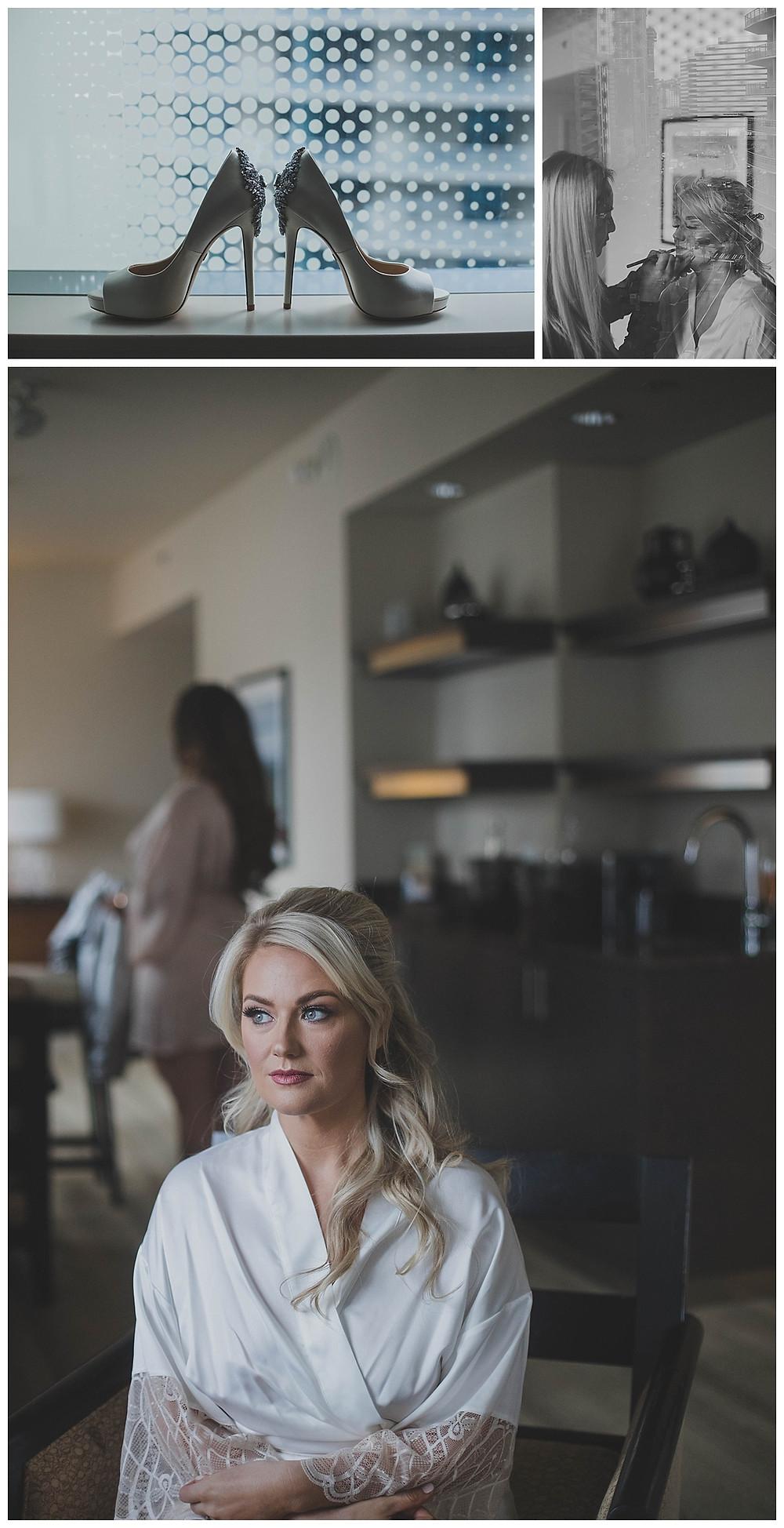 Bride preparing for a Seattle wedding.
