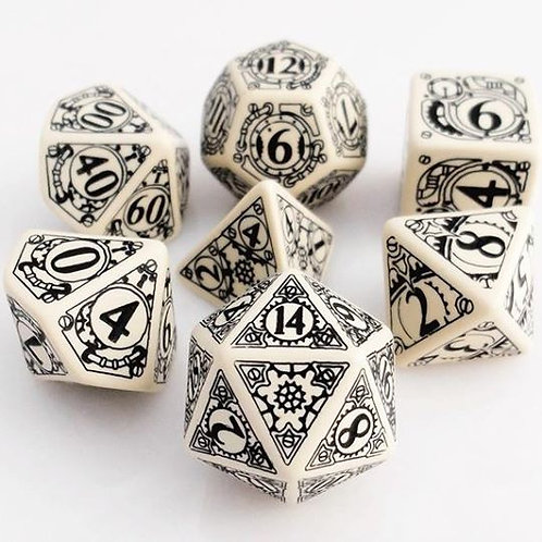 Beige & Black Steampunk Dice Set (7)