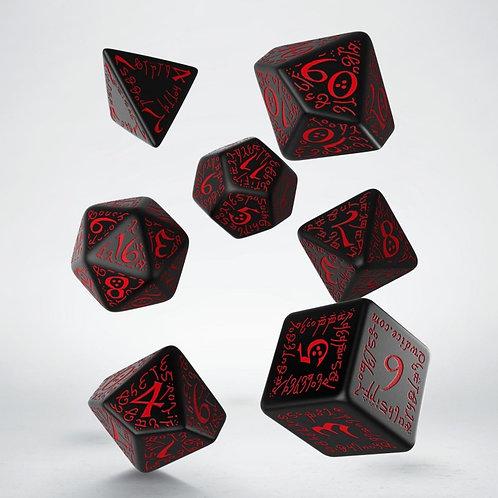 Black & Red Elvish Dice Set (7)