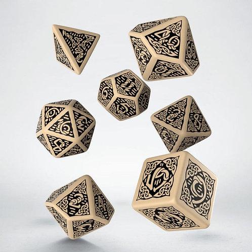 Celtic 3D Revised Dice Set beige & black (7)