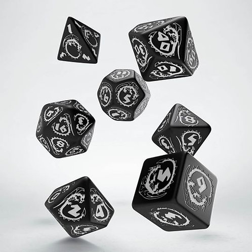 Black & White Dragons Dice Set (7)