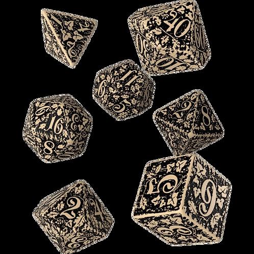 Forest 3D Dice Set beige & black (7)