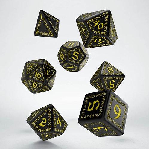 Black & Yellow Runic Dice Set (7)