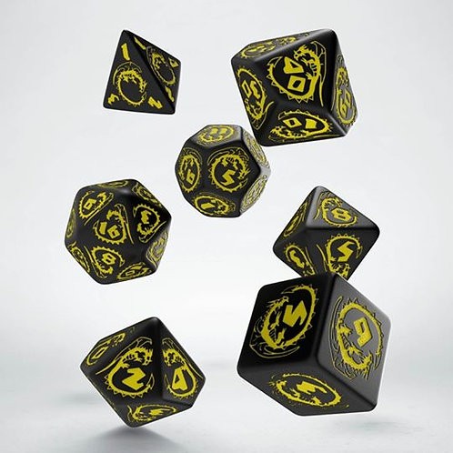 Black & Yellow Dragons Dice Set (7)