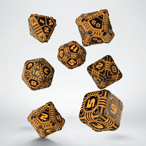 Black-Orange Tech Dice Set (7)