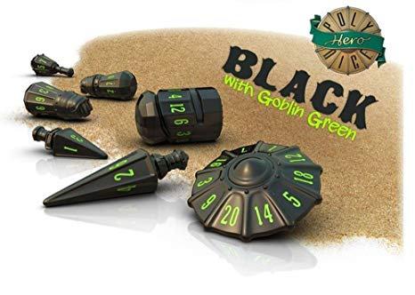 PolyHero Dice Warrior Set Black/Goblin Green