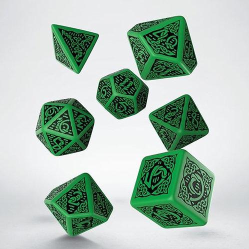 Green & Black Celtic 3D Dice set (7)