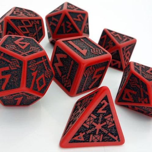 Red & Black Dwarven Dice set (7)