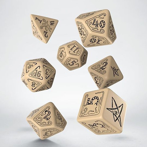 Call of Cthulhu Beige & Black DiceSet (7)