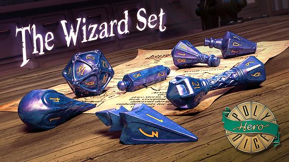 PolyHero Dice Wizard Set Lapis Lazuli & Glitering Gold