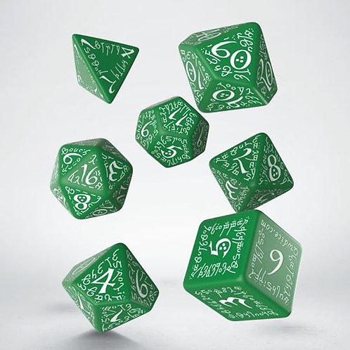 Green & White Elvish Dice Set (7)