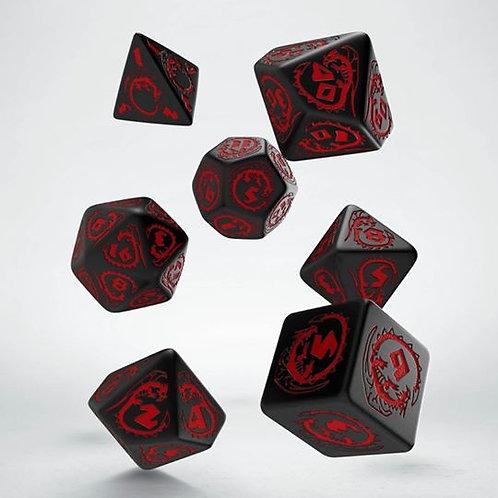 Black & Red Dragons Dice Set (7)