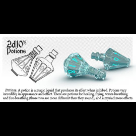 PolyHero Dice 2d10 Potion - Ethereal Ice with Burning Blue