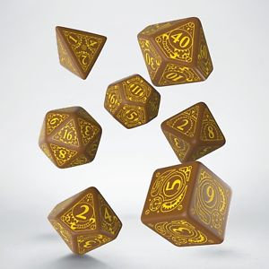 Brown & Yellow Steampunk Dice Set (7)