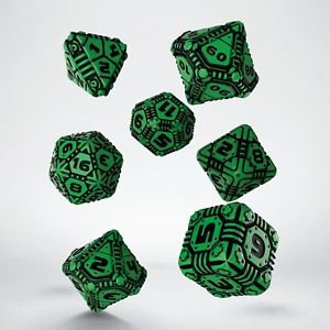 Green & Black Tech Dice (7)