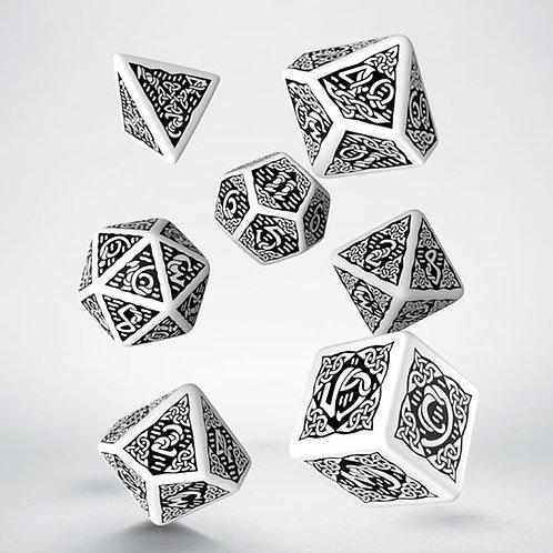 White & Black Celtic 3D Dice set (7)