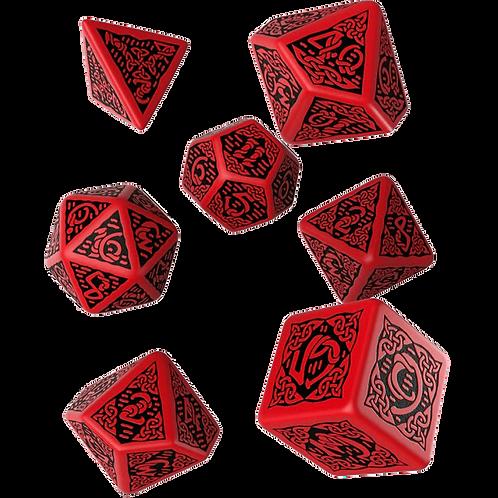 Celtic 3D Revised Dice Set red & black (7)
