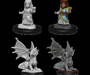 D&D Nolzur's- Silver Dragon Wyrmling & Female Halfling