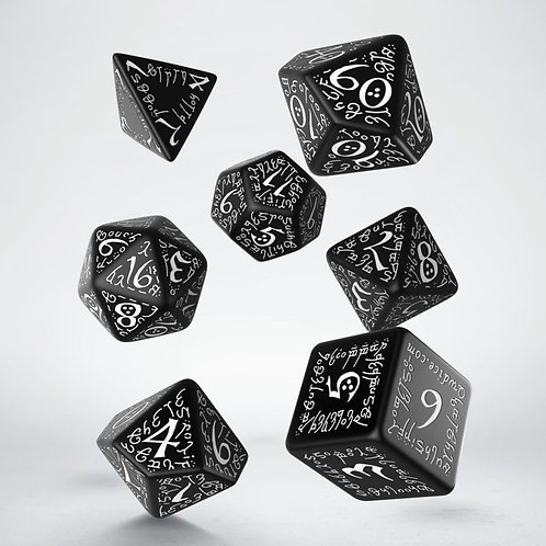 Elvish Dice Set black & white(7)