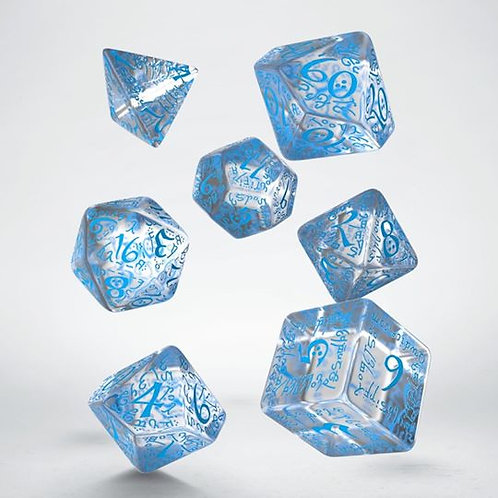 Transparent & Blue Elvish Dice Set(7)