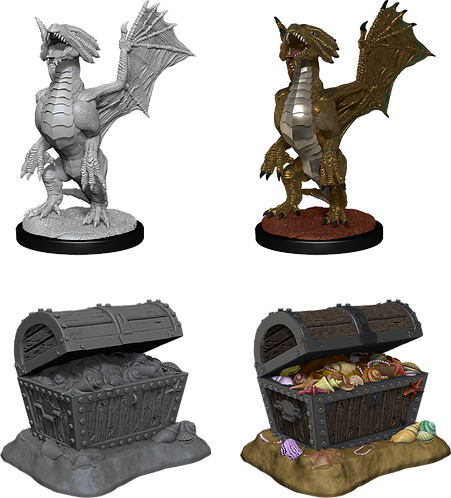 D&D Nolzur's - Bronze Dragon Wyrmling & Pile of Sea found Treasure