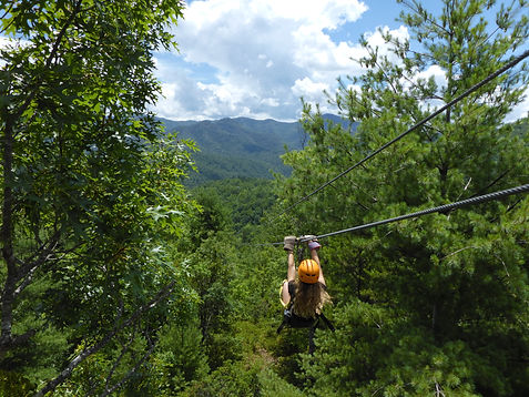 Ziplining through the canopy at Florida's overnight summer camp Camp Frontier
