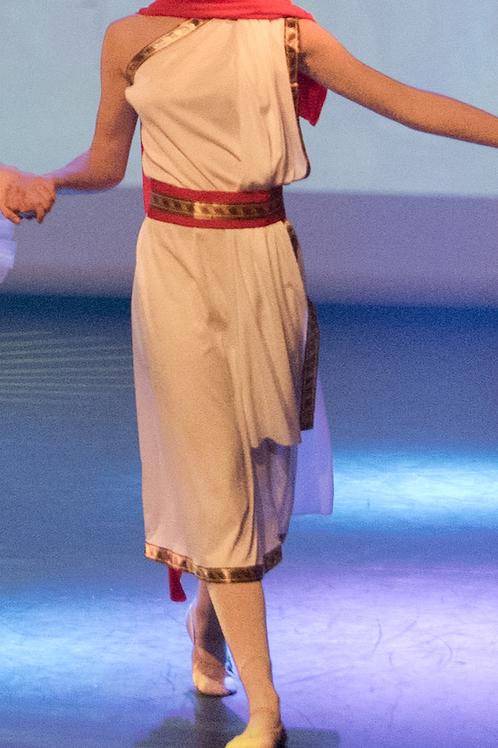 Robe de romain blanche et cape rouge