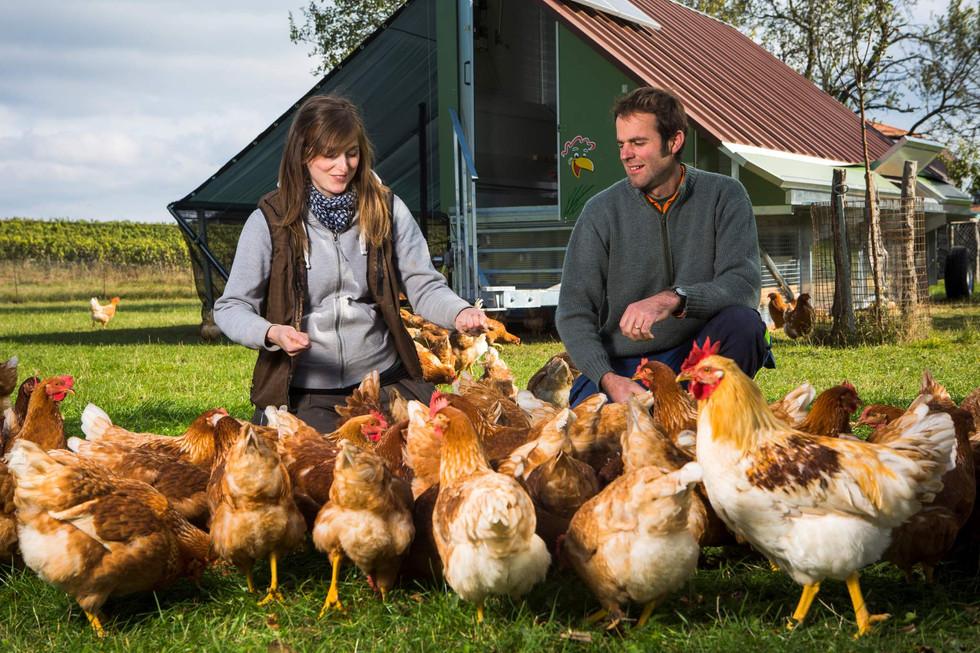 Pour Francis et Marie Jaggi, produire en label bio est une évidence y compris pour leurs poules