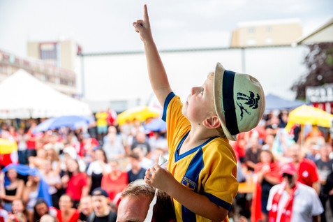 A young swedish supporter celebrate Sweden victory against Switzerland on Russia FIFA World Cup 2018