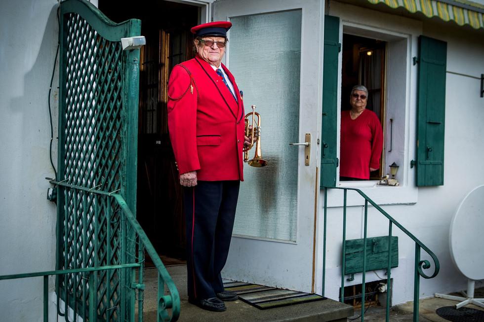Son bugle résonne depuis 60 ans à l'Harmonie de Terre Sainte