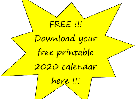 FREE Printable 2020 Calendar download