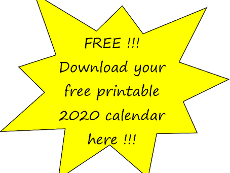 FREE Printable 2020 Calendar download