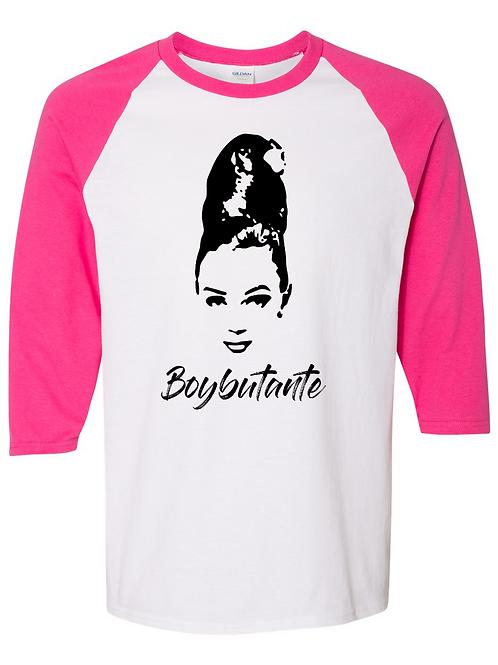 Boybutante White/PinkBaseball Tee