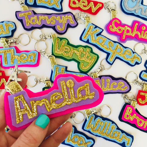 Full Name Felt Key Ring, Personalised School Bag Tag.