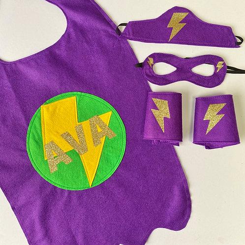 Adult Felt Superhero Costume with Full Name. Choose Flash or Star Decoration
