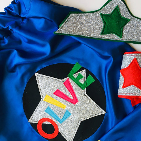 Adult Rainbow Satin Superhero Star Cape with Full Name