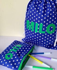 Personalised Pencil Case and Drawstring Kit Bag