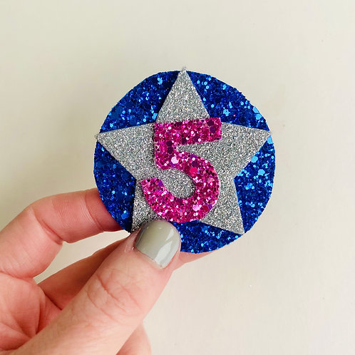 Star Glitter Birthday Badge, Star Letter/Age Pin