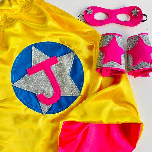 Kids Satin Superhero Star Cape with Letter