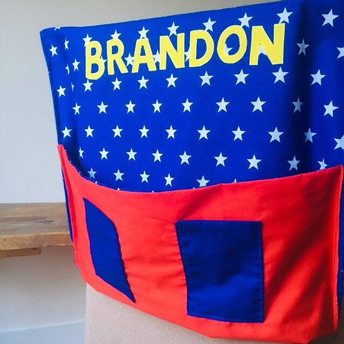 Personalised School Chair Bag, Chair Cover with Pockets and Name