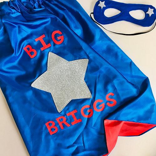 Kids Full Name Satin Superhero Star Cape