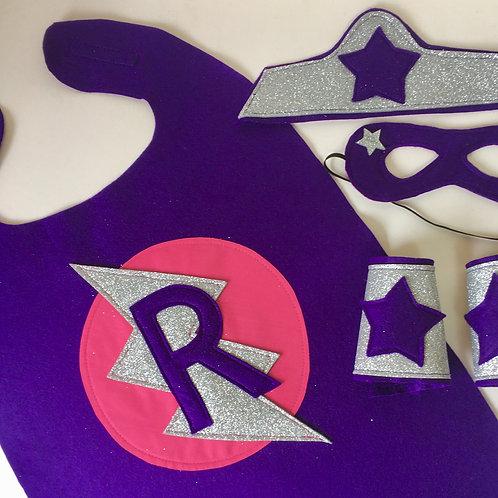Adult Felt Superhero Flash Cape with Letter