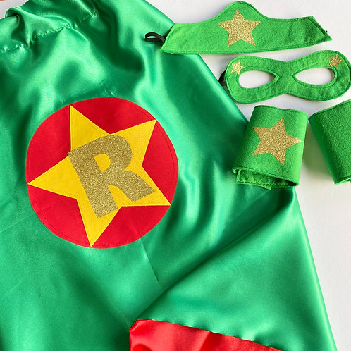 Adult Satin Superhero Costume with Letter. Choose Flash or Star Decoration