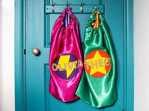 Kids Satin Superhero Costume with Full Name. Choose Flash or Star Decoration