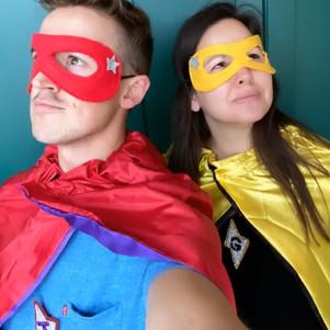 Tom and Giovanna Fletcher wearing Robin's Bobbins superhero costumes.jpg