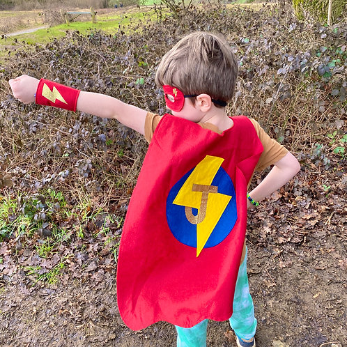 Kids Felt Superhero Cape with Letter. Choose from Flash or Star Decoration