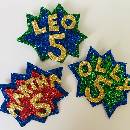 Glitter Superhero Pow Badge, Superhero Birthday Pin, Custom Superhero Pin