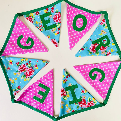 Personalised Bunting, Custom Baby Fabric Garland, Nursery Decor